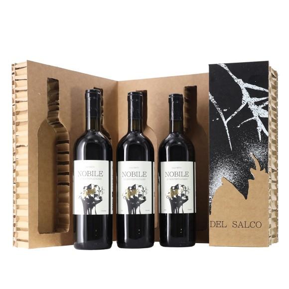nobile di montepulciano vecchie viti del salco 2016 75 cl x 3 salcheto box in cartone riciclato - enoteca pirovano