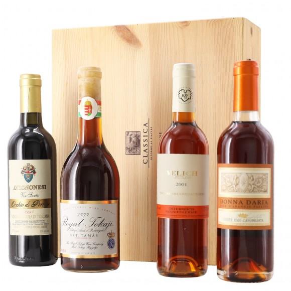 selezione passiti 4 bottiglie classica ritorno al piacere in cassetta legno - enoteca pirovano