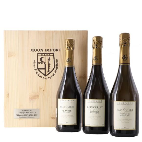 cassetta 3 bottiglie 75 cl millesimé 2007 / 2008 / 2009 egly-ouriet - enoteca pirovano